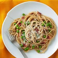 spaghetti carbonara with peas recipe eatingwell