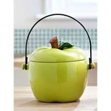 Green Apple Kitchen Accessories - 4pc coffee mugs with wood rack green apple kitchen deco by marcel