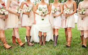 fall wedding bridesmaid dresses with cowboy boots wedding