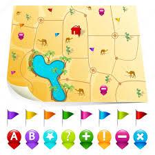 Desert Map Desert Map With Gps Icons U2014 Stock Vector Vectomart 5373838