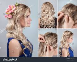 simple braid hairstyle curly hair tutorial stock photo 410553019