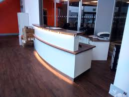 Reception Desk Miami by Bespoke White And Walnut Reception Desk And Rear Cabinet Installed