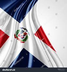 Domenican Flag Dominican Republic Flag Silk Copyspace Your Stock Illustration