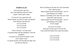 Chandelier Lyric Popular Contemporary Song Lyrics Poetry Lessons By Chloesteel