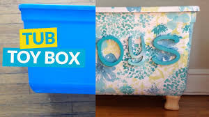 Homemade Toy Box by Storage Tub Turned Toy Box Youtube