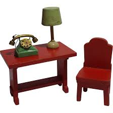 vintage dollhouse telephone table with lamp and metal phone from