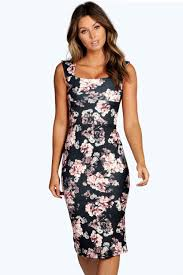 boohoo clothing elsa floral printed midi dress boohoo