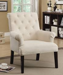 Beige Accent Chair Linen Tufted Accent Chair