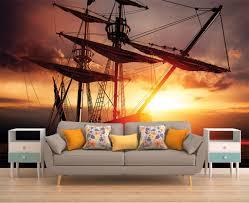wall decor home decor home living romantic wall decor romantic sunset ship wallpaper sunset wall mural removable wall