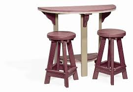 round bistro table outdoor amish half round poly patio pub table and 2 bar stools set bar