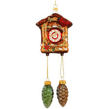 cuckoo clock with pine cones glass ornament ethnic pride