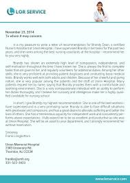 ideas collection letter of recommendation template nursing