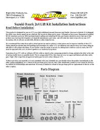 high lifter lift kit for suzuki ozark 250 2x4 02 07 user manual