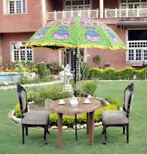 indian cotton garden parasol green embroidered patio design