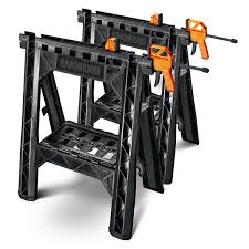 stanley folding work table cling sawhorses with bar cls wx065 worx