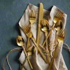 Kitchen Knives Perth Gold Cutlery 5 Pc Place Setting West Elm Au