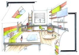 chambre en perspective dessin chambre en perspective croquis chambre ambiance charme