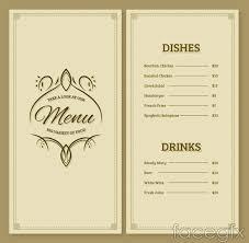 simple but elegant restaurant menu design vector graph