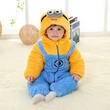 baby winter flannel romper despicable me minion onesie jumpsuit
