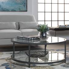 grey round coffee table studio designs home camber pewter steel glass round coffee table
