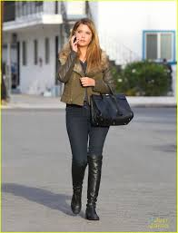street riding boots ashley benson military olive jacket black jeans black riding
