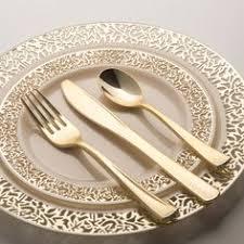 Fancy Place Setting Paper Plates Napkins U0026 Partyware Fancy Gold Plastic Silverware