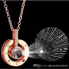 wedding necklace gifts images Rose gold silver 100 languages i love you projection pendant jpg