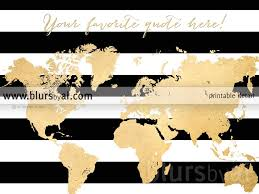 World Map Silhouette Personalized World Map Gold Foil Map Silhouette In Black And