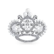 kay jewelers catalog white pearl crystal princess crown pin brooch