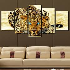 5 plane abstract leopards modern home decor wall art canvas animal