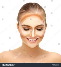 contouringbaking make woman face contour highlight stock photo