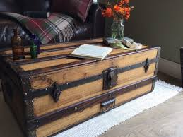 trunks trunk coffee tables and leather on pinterest old chest thippo