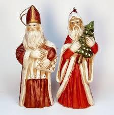 2 vtg bisque santa st nicholas ornaments world style