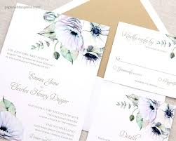 watercolor wedding invitations anemone wedding invitations paperwhites wedding invitations
