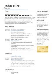 Certified Forklift Operator Resume Press Operator Resume Samples Visualcv Resume Samples Database