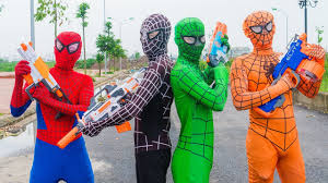 coc halloween costumes superheroes war spiderman vs power rangers nerf guns killer clown