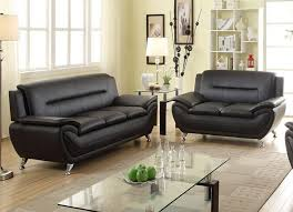 Livingroom Sofas Norton 2 Pc Black Faux Leather Modern Living Room Sofa And