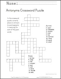 antonyms crossword puzzle worksheet