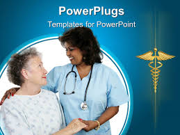 powerpoint template elderly patient holding hands with a nurse