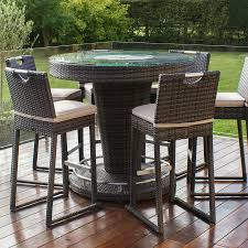 Garden Bar Table And Stools Brown Rattan Garden Bar With And 6 Stools