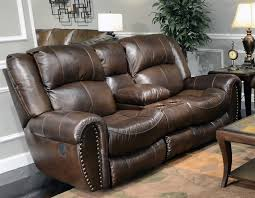 jordan lay flat reclining console loveseat in tobacco leather by