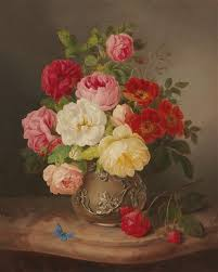 still with roses in a vase and a blue butterfly by josef lauer