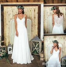 boho white long beach wedding dresses 2016 spaghetti straps lace