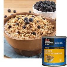 mountain house freeze dried granola with milk and blueberries