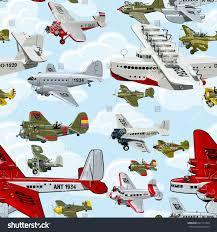cartoon retro airplanes 1930s seamless pattern stock illustration