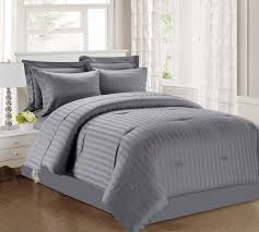 3 piece damask stripe 500 thread count cotton comforter set charcoal