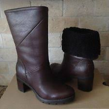 womens ugg boots with heel ugg jessia black leather high heel cuffable womens boots us 6 5 ebay