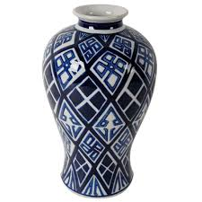 a u0026 b home valora 8 in x 13 in blue and white decorative vase