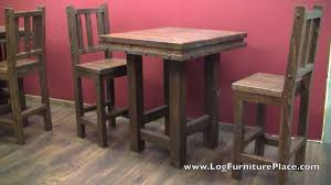 rustic pub table and chairs lonestar rustic barnwood pub table from logfurnitureplace com youtube