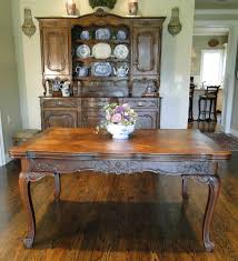 French Country Table by Lovely Parquet Top Antique French Country Oak Dining Table With